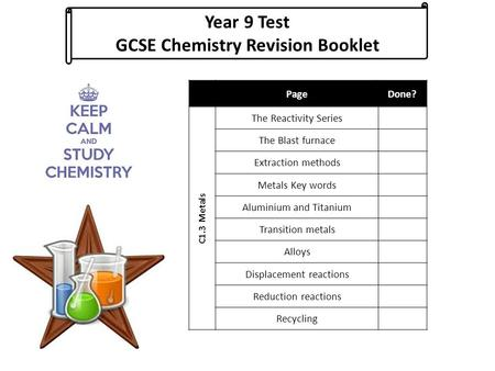 Year 9 Test GCSE Chemistry Revision Booklet PageDone? C1.3 Metals The Reactivity Series The Blast furnace Extraction methods Metals Key words Aluminium.