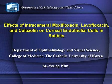 Effects of Intracameral Moxifloxacin, Levofloxacin, and Cefazolin on Corneal Endothelial Cells in Rabbits Su-Young Kim, Department of Ophthalmology and.