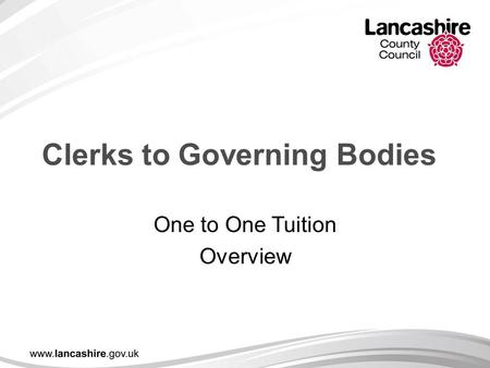 Clerks to Governing Bodies One to One Tuition Overview.