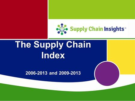 The Supply Chain Index The Supply Chain Index 2006-2013 and 2009-2013.