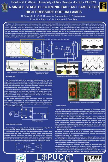 Pontifical Catholic University of Rio Grande do Sul - PUCRS A SINGLE STAGE ELECTRONIC BALLAST FAMILY FOR HIGH PRESSURE SODIUM LAMPS R. Tonkoski Jr., G.