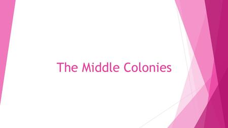 The Middle Colonies. New York New Jersey Pennsylvania Delaware.