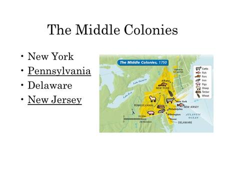 The Middle Colonies New York Pennsylvania Delaware New Jersey.
