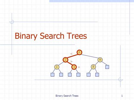 Binary Search Trees1 6 9 2 4 1 8   . 2 Binary Search Tree Properties A binary search tree is a binary tree storing keys (or key-element pairs) at its.