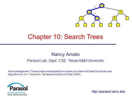Chapter 10: Search Trees Nancy Amato Parasol Lab, Dept. CSE, Texas A&M University Acknowledgement: These slides are adapted from slides provided with Data.