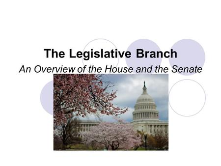 The Legislative Branch An Overview of the House and the Senate.