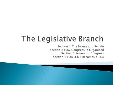 Section 1 The House and Senate Section 2 How Congress is Organized Section 3 Powers of Congress Section 4 How a Bill Becomes a Law.