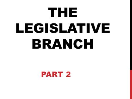 THE LEGISLATIVE BRANCH PART 2. WHERE DO IDEAS FOR LAWS BEGIN?  An idea for a new law is called a bill.  An idea for a bill can come from anyone: citizens,