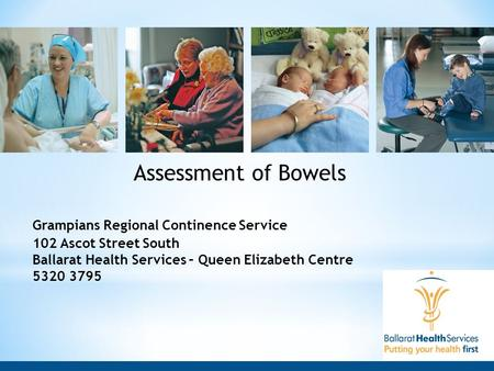 Assessment of Bowels Grampians Regional Continence Service 102 Ascot Street South Ballarat Health Services – Queen Elizabeth Centre 5320 3795.