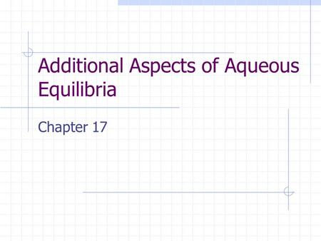 Additional Aspects of Aqueous Equilibria Chapter 17.