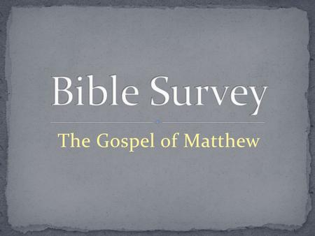The Gospel of Matthew. Title 1. English – The Gospel According to Matthew 2. Greek – kata. Maqqai/on.