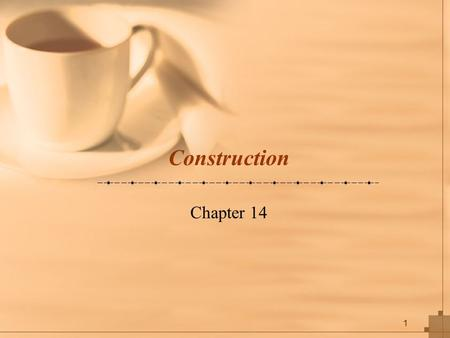 1 Construction Chapter 14. 2 Key Concepts Be familiar with the system construction process. Understand different types of tests and when to use Understand.