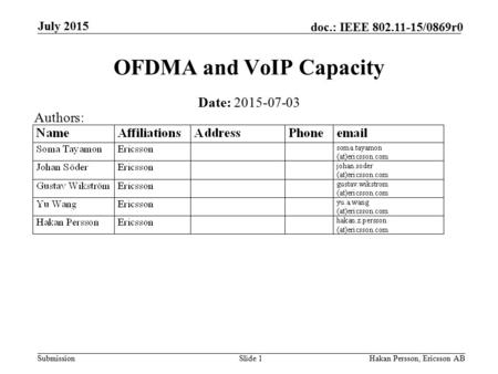Submission doc.: IEEE 802.11-15/0869r0 July 2015 Hakan Persson, Ericsson ABSlide 1 OFDMA and VoIP Capacity Date: 2015-07-03 Authors: