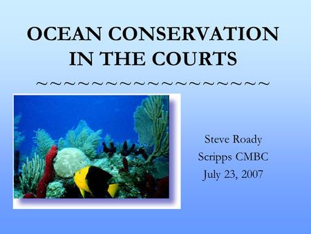 OCEAN CONSERVATION IN THE COURTS ~~~~~~~~~~~~~~~~~ Steve Roady Scripps CMBC July 23, 2007.