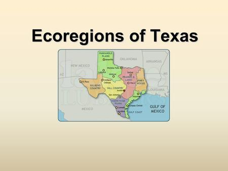 Ecoregions of Texas. What Is An Ecoregion? Ecoregion- a major area with distinctive landforms, characteristic plants and animals, and receives uniform.