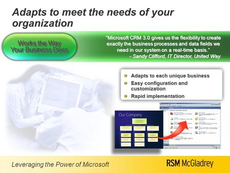 "Leveraging the Power of Microsoft ""Microsoft CRM 3.0 gives us the flexibility to create exactly the business processes and data fields we need in our system."