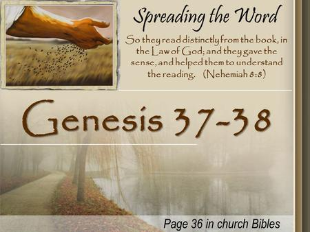Spreading the Word Genesis 37-38 So they read distinctly from the book, in the Law of God; and they gave the sense, and helped them to understand the reading.