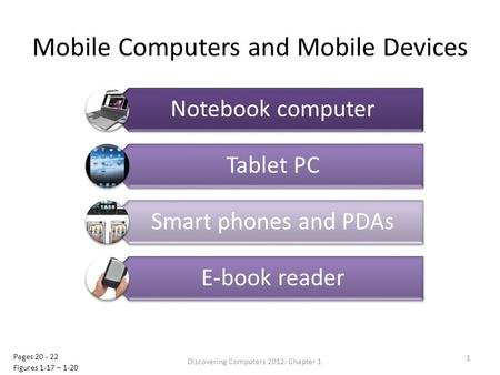 Mobile Computers and Mobile Devices Discovering Computers 2012: Chapter 1 1 Pages 20 - 22 Figures 1-17 – 1-20.