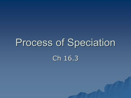 Process of Speciation Ch 16.3. Intro to Speciation Recall, biologists define a species as a group of individuals that breed and produce fertile offspring.