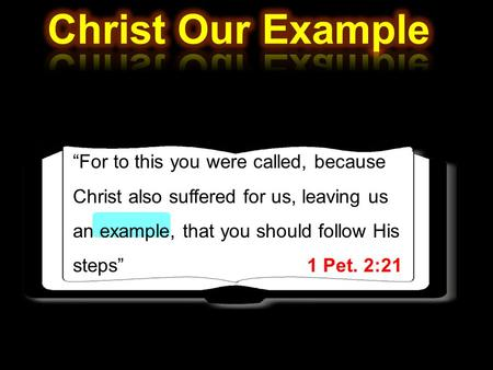 """For to this you were called, because Christ also suffered for us, leaving us an example, that you should follow His steps"" 1 Pet. 2:21."