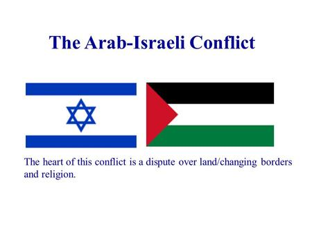 The Arab-Israeli Conflict The heart of this conflict is a dispute over land/changing borders and religion.