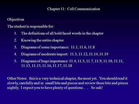 Chapter 11: Cell Communication Objectives The student is responsible for: 1.The definitions of all bold faced words in the chapter 2.Knowing the entire.