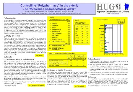 "Controlling ""Polypharmacy"" in the elderly The ""Medication Appropriateness Index"" G. Vital-Durand 1, F. Herrmann 2, J-P. Michel 2, V. Rollason 3, N. Vogt."