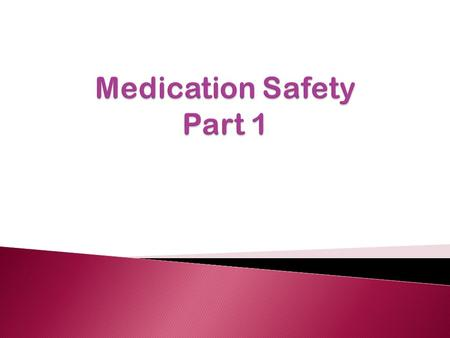  Medication safety terminology  Relationship between medication errors, adverse drug events & adverse drug reactions  Medication error classification.