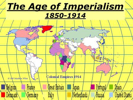 The Age of Imperialism 1850-1914. What is Imperialism? Imperialism is the domination by one country of the political, economic, or social life of another.