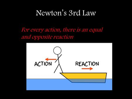 Newton's 3rd Law For every action, there is an equal and opposite reaction.
