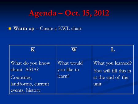 Agenda – Oct. 15, 2012 Warm up – Create a KWL chart Warm up – Create a KWL chart KWL What do you know about ASIA? Countries, landforms, current events,