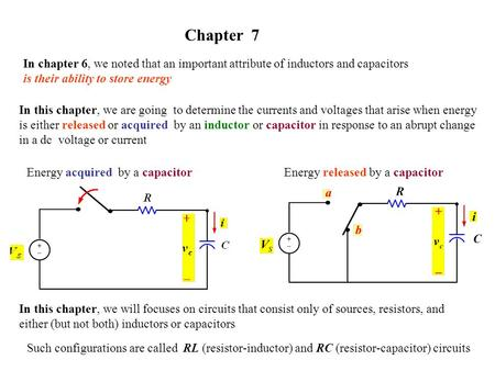 Chapter 7 In chapter 6, we noted that an important attribute of inductors and capacitors is their ability to store energy In this chapter, we are going.