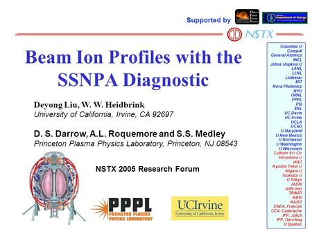Beam Ion Profiles with the SSNPA Diagnostic Columbia U Comp-X General Atomics INEL Johns Hopkins U LANL LLNL Lodestar MIT Nova Photonics NYU ORNL PPPL.