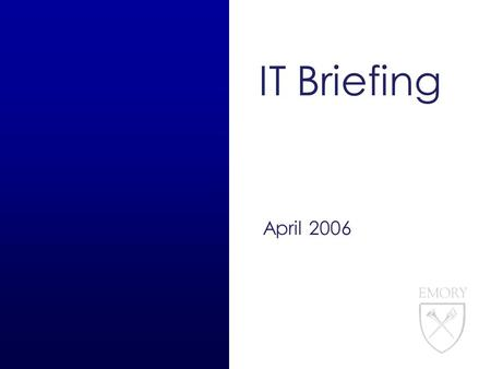 IT Briefing April 2006. 1 IT Briefing Agenda 4/20/06 Web Update eSubmissions Overview AAIT Finance Team Overview IT Website Enhancements Security Updates.