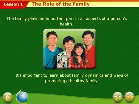 Lesson 1 The family plays an important part in all aspects of a person's health. It's important to learn about family dynamics and ways of promoting a.