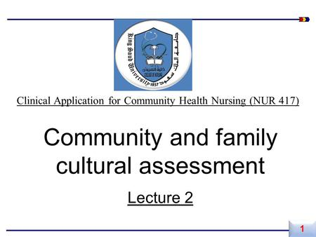 Community and family cultural assessment Lecture 2 1 1 Clinical Application for Community Health Nursing (NUR 417)