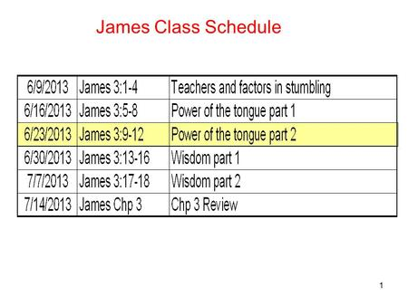 1 James Class Schedule. 2 James 3:9 -12 Power of the tongue part 2 9 With it we bless our Lord and Father, and with it we curse men, who have been made.