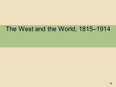The West and the World, 1815–1914 25. I. Industrialization and the World Economy A. The Rise of Global Inequality 1. Impact of the Industrial Revolution.