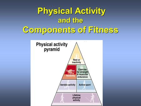 Physical Activity and the Components of Fitness Physical Activity and the Components of Fitness.