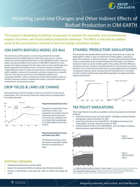 Margaret Loudermilk, Joshua Elliott, and Todd Munson Modeling Land-Use Changes and Other Indirect Effects of Biofuel Production in CIM-EARTH STEPPING FORWARD.
