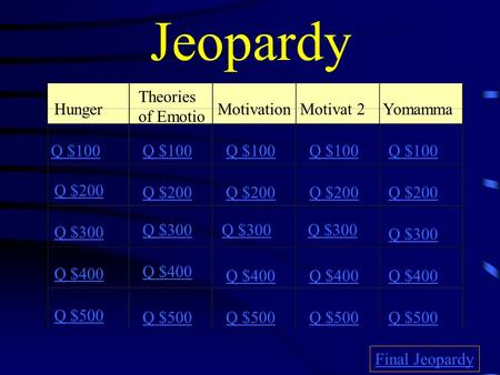 Jeopardy Hunger Theories of Emotio MotivationMotivat 2 Yomamma Q $100 Q $200 Q $300 Q $400 Q $500 Q $100 Q $200 Q $300 Q $400 Q $500 Final Jeopardy.