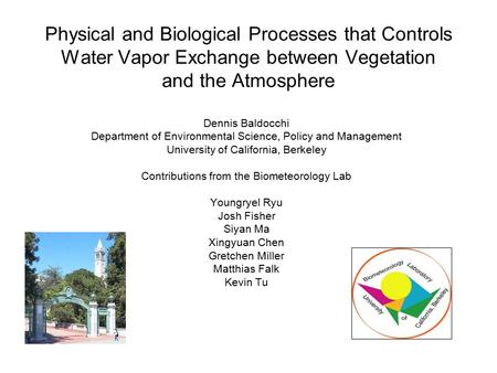 Physical and Biological Processes that Controls Water Vapor Exchange between Vegetation and the Atmosphere Dennis Baldocchi Department of Environmental.
