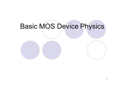 1 Basic MOS Device Physics. 2 Why Analog Circuits? DSP algorithms were predicted to replace all analog blocks with the flexibility in silicon implementation.