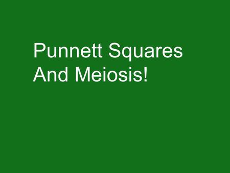 Punnett Squares And Meiosis!. Meiosis: A type of cell division in which a diploid cell (two copies of each gene) divides to form a haploid cell (one copy.