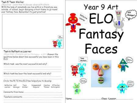 Year 9 Art ELO Fantasy Faces Name……………………………………… ………. Class /Lesson…………………………… Task 5 Team Worker Objective- Learn how to discuss ideas with others With.