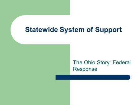 Statewide System of Support The Ohio Story: Federal Response.