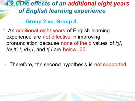 4.2.6The effects of an additional eight years of English learning experience * An additional eight years of English learning experience are not effective.