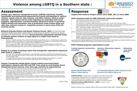 Violence among LGBTQ in a Southern state : Assessment Lesbian, gay, bisexual, transgender & queer (LGBTQ) individuals, families, households, and communities.