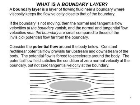 1 WHAT IS A BOUNDARY LAYER? A boundary layer is a layer of flowing fluid near a boundary where viscosity keeps the flow velocity close to that of the boundary.