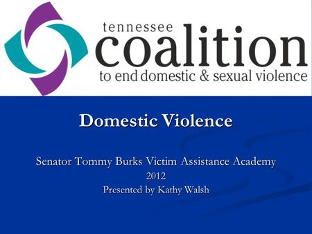 Domestic Violence Senator Tommy Burks Victim Assistance Academy 2012 Presented by Kathy Walsh.